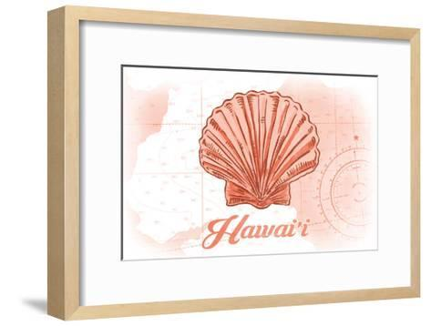 Hawaii - Scallop Shell - Coral - Coastal Icon-Lantern Press-Framed Art Print