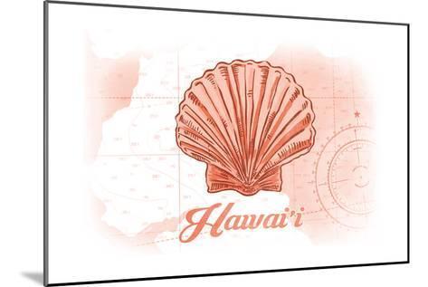 Hawaii - Scallop Shell - Coral - Coastal Icon-Lantern Press-Mounted Art Print