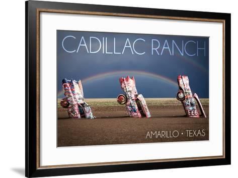 Amarillo, Texas - Cadillac Ranch - Double Rainbow-Lantern Press-Framed Art Print