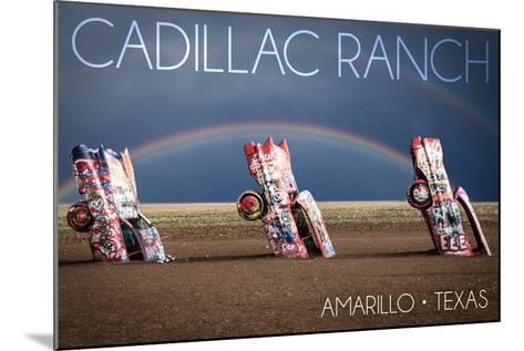 Amarillo, Texas - Cadillac Ranch - Double Rainbow-Lantern Press-Mounted Art Print