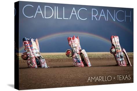 Amarillo, Texas - Cadillac Ranch - Double Rainbow-Lantern Press-Stretched Canvas Print