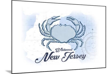 Wildwood, New Jersey - Crab - Blue - Coastal Icon-Lantern Press-Mounted Art Print