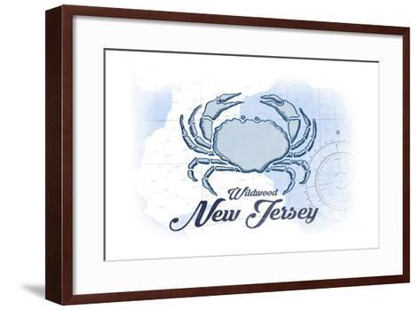 Wildwood, New Jersey - Crab - Blue - Coastal Icon-Lantern Press-Framed Art Print