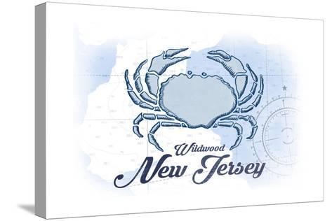 Wildwood, New Jersey - Crab - Blue - Coastal Icon-Lantern Press-Stretched Canvas Print