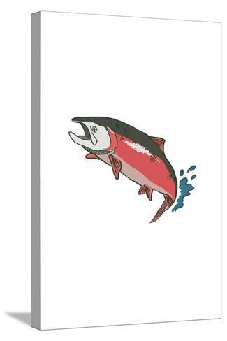 Salmon with Splash - Icon-Lantern Press-Stretched Canvas Print