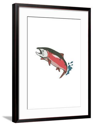 Salmon with Splash - Icon-Lantern Press-Framed Art Print
