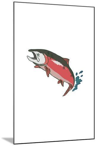Salmon with Splash - Icon-Lantern Press-Mounted Art Print