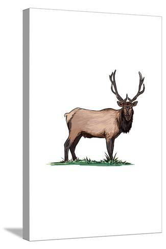 Elk - Icon-Lantern Press-Stretched Canvas Print