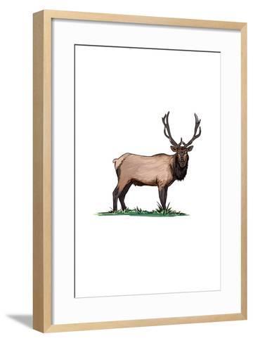 Elk - Icon-Lantern Press-Framed Art Print