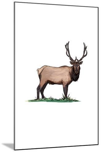Elk - Icon-Lantern Press-Mounted Art Print
