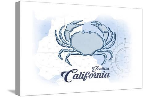 Ventura, California - Crab - Blue - Coastal Icon-Lantern Press-Stretched Canvas Print