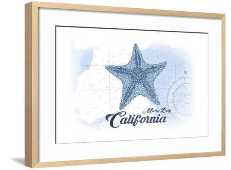 Morro Bay, California - Starfish - Blue - Coastal Icon-Lantern Press-Framed Art Print