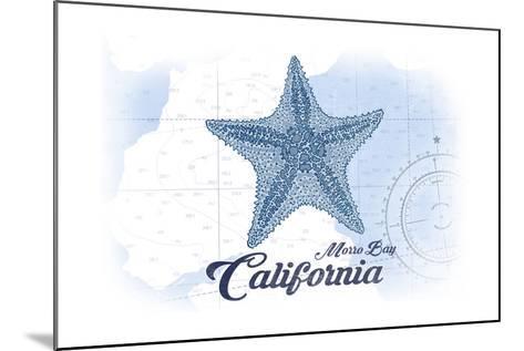 Morro Bay, California - Starfish - Blue - Coastal Icon-Lantern Press-Mounted Art Print
