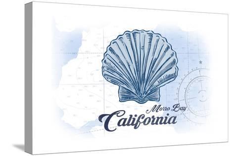 Morro Bay, California - Scallop Shell - Blue - Coastal Icon-Lantern Press-Stretched Canvas Print