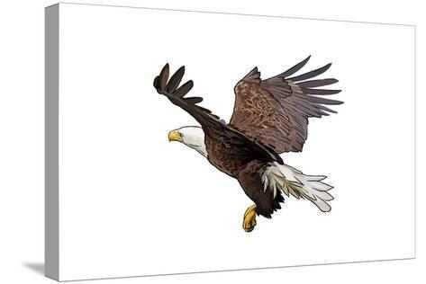 Bald Eagle Landing - Icon-Lantern Press-Stretched Canvas Print