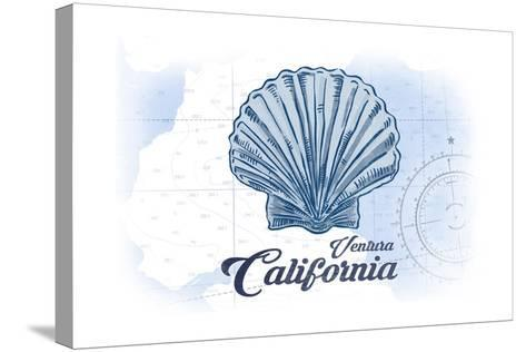 Ventura, California - Scallop Shell - Blue - Coastal Icon-Lantern Press-Stretched Canvas Print