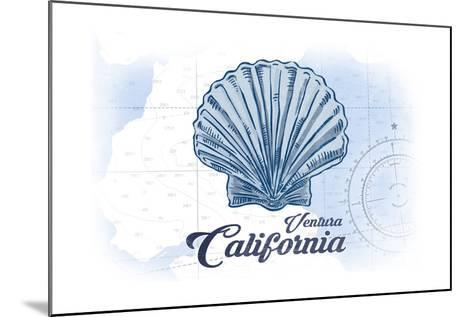Ventura, California - Scallop Shell - Blue - Coastal Icon-Lantern Press-Mounted Art Print