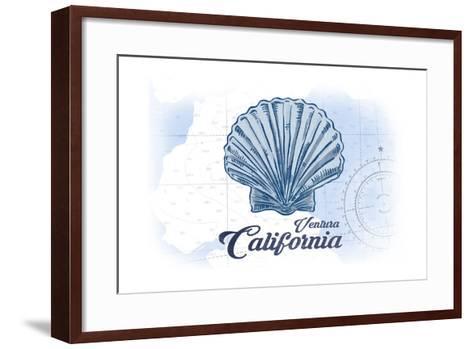 Ventura, California - Scallop Shell - Blue - Coastal Icon-Lantern Press-Framed Art Print