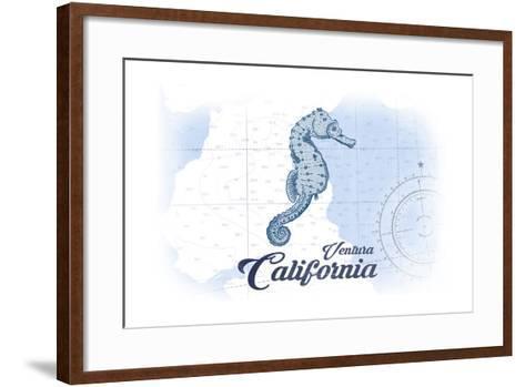 Ventura, California - Seahorse - Blue - Coastal Icon-Lantern Press-Framed Art Print
