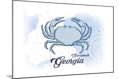 Savannah, Georgia - Crab - Blue - Coastal Icon-Lantern Press-Mounted Art Print