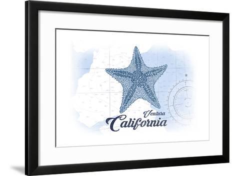 Ventura, California - Starfish - Blue - Coastal Icon-Lantern Press-Framed Art Print