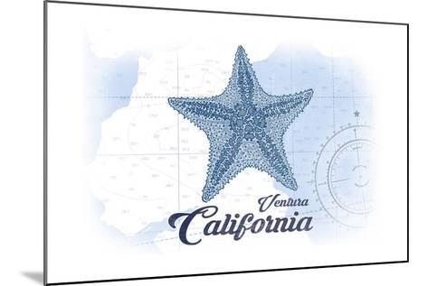 Ventura, California - Starfish - Blue - Coastal Icon-Lantern Press-Mounted Art Print