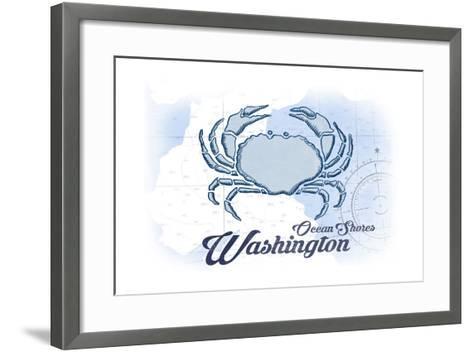 Ocean Shores, Washington - Crab - Blue - Coastal Icon-Lantern Press-Framed Art Print