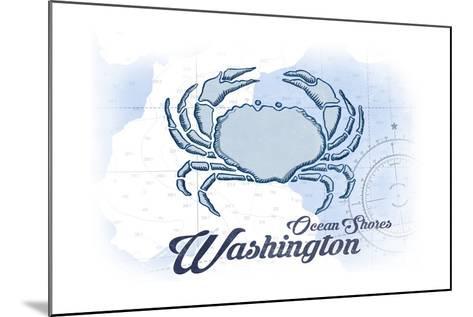 Ocean Shores, Washington - Crab - Blue - Coastal Icon-Lantern Press-Mounted Art Print