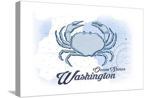 Ocean Shores, Washington - Crab - Blue - Coastal Icon-Lantern Press-Stretched Canvas Print