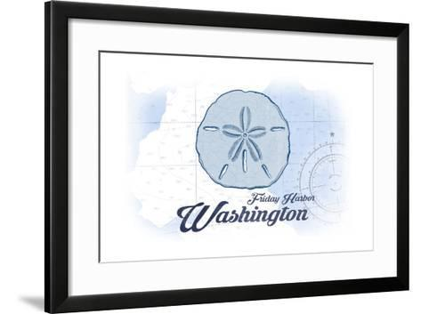 Friday Harbor, Washington - Sand Dollar - Blue - Coastal Icon-Lantern Press-Framed Art Print