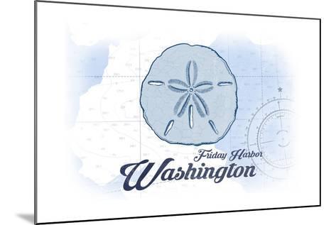 Friday Harbor, Washington - Sand Dollar - Blue - Coastal Icon-Lantern Press-Mounted Art Print