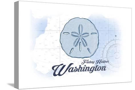 Friday Harbor, Washington - Sand Dollar - Blue - Coastal Icon-Lantern Press-Stretched Canvas Print