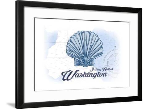 Friday Harbor, Washington - Scallop Shell - Blue - Coastal Icon-Lantern Press-Framed Art Print