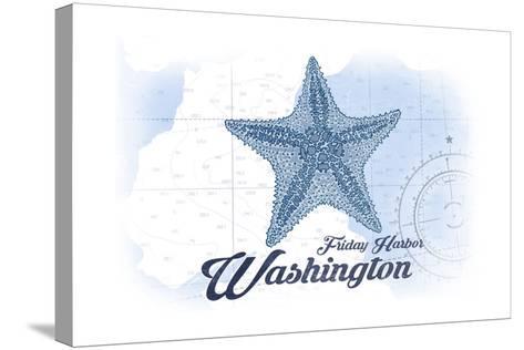 Friday Harbor, Washington - Starfish - Blue - Coastal Icon-Lantern Press-Stretched Canvas Print