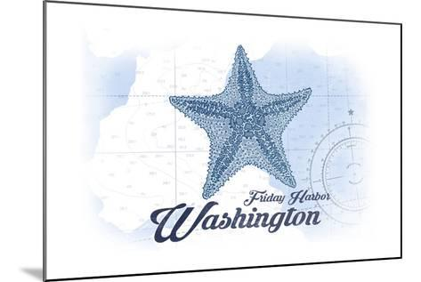 Friday Harbor, Washington - Starfish - Blue - Coastal Icon-Lantern Press-Mounted Art Print