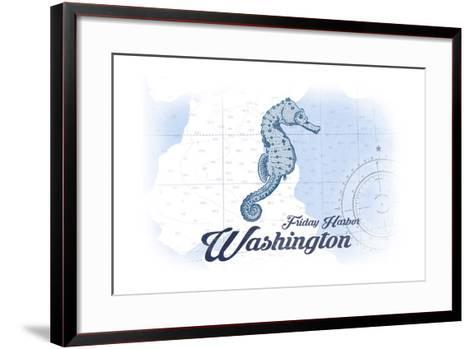 Friday Harbor, Washington - Seahorse - Blue - Coastal Icon-Lantern Press-Framed Art Print