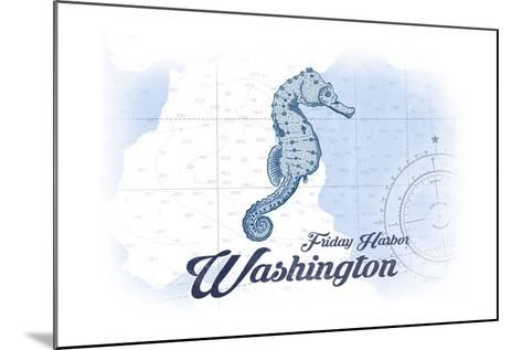 Friday Harbor, Washington - Seahorse - Blue - Coastal Icon-Lantern Press-Mounted Art Print