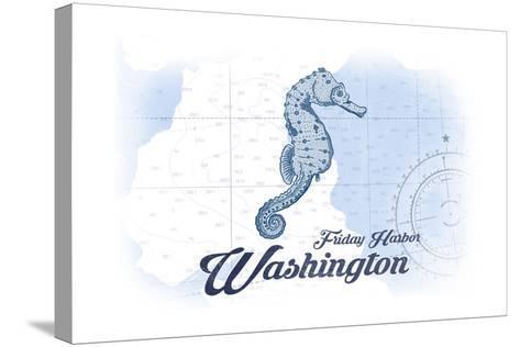 Friday Harbor, Washington - Seahorse - Blue - Coastal Icon-Lantern Press-Stretched Canvas Print