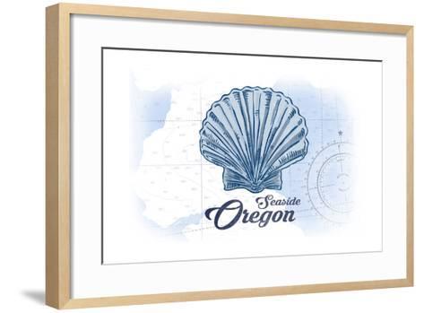 Seaside, Oregon - Scallop Shell - Blue - Coastal Icon-Lantern Press-Framed Art Print