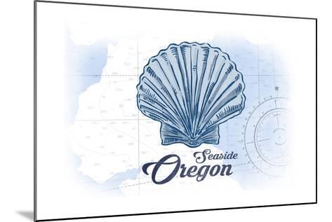 Seaside, Oregon - Scallop Shell - Blue - Coastal Icon-Lantern Press-Mounted Art Print