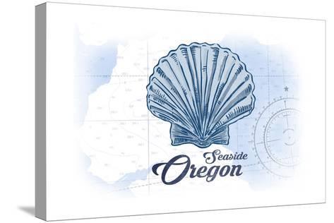 Seaside, Oregon - Scallop Shell - Blue - Coastal Icon-Lantern Press-Stretched Canvas Print