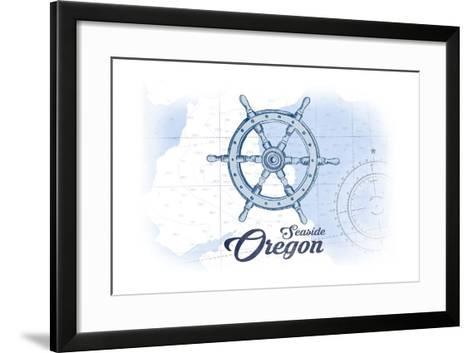 Seaside, Oregon - Ship Wheel - Blue - Coastal Icon-Lantern Press-Framed Art Print