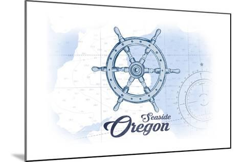 Seaside, Oregon - Ship Wheel - Blue - Coastal Icon-Lantern Press-Mounted Art Print