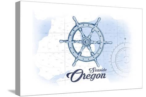 Seaside, Oregon - Ship Wheel - Blue - Coastal Icon-Lantern Press-Stretched Canvas Print