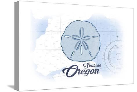Seaside, Oregon - Sand Dollar - Blue - Coastal Icon-Lantern Press-Stretched Canvas Print