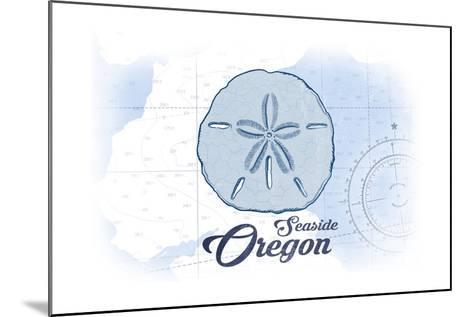 Seaside, Oregon - Sand Dollar - Blue - Coastal Icon-Lantern Press-Mounted Art Print