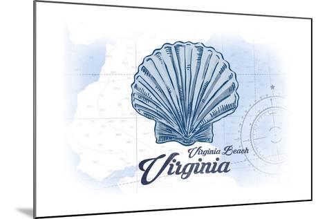 Virginia Beach, Virginia - Scallop Shell - Blue - Coastal Icon-Lantern Press-Mounted Art Print