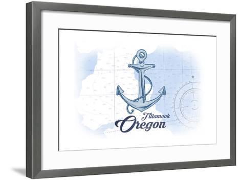 Tillamook, Oregon - Anchor - Blue - Coastal Icon-Lantern Press-Framed Art Print