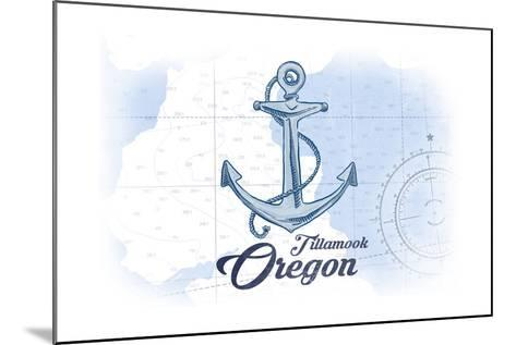 Tillamook, Oregon - Anchor - Blue - Coastal Icon-Lantern Press-Mounted Art Print
