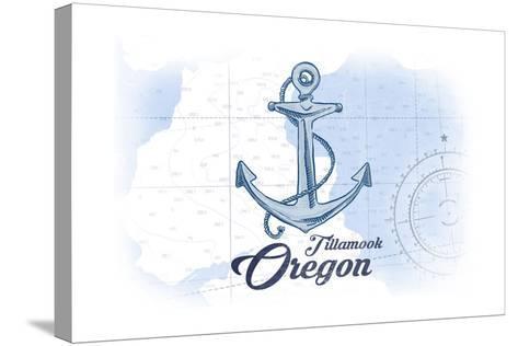 Tillamook, Oregon - Anchor - Blue - Coastal Icon-Lantern Press-Stretched Canvas Print
